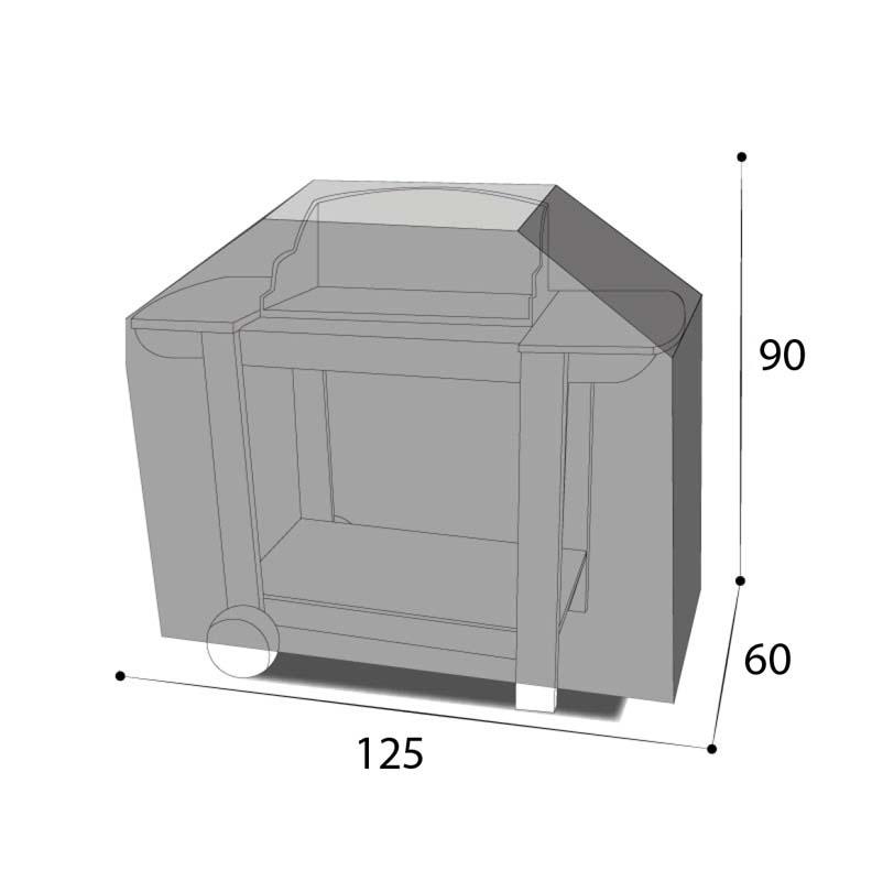 Dimensions housse barbecue trapèze 125 x 60